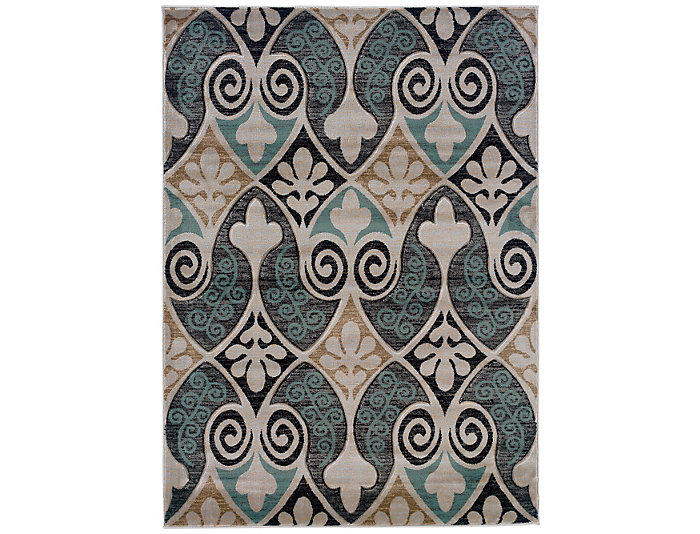 Milan Scroll Black and Turquoise Area Rug 5' x 8', , large