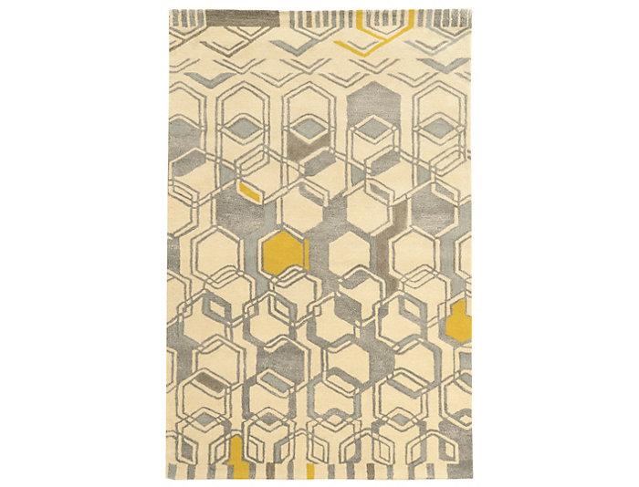 Aspire Hexagon Ivory 5x8 Rug, , large