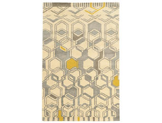 Aspire Hexagon Ivory 5x8 Rug, , large