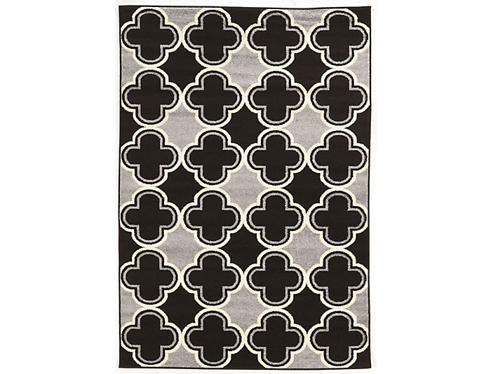 Claremont Quatrefoil Black Area Rug 5' x 7', , large