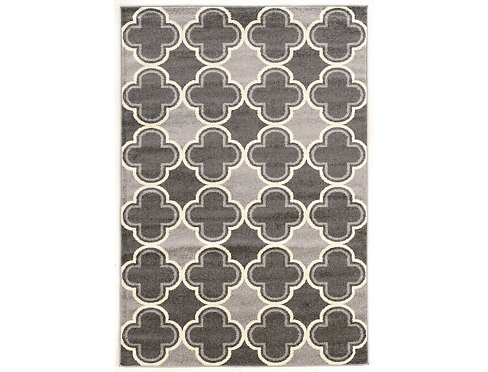 Claremont Quatrefoil Grey Area Rug  8' x 10', , large