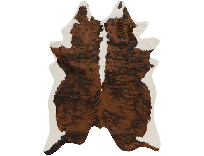 Faux Cow Hide Brindle Rug, , large