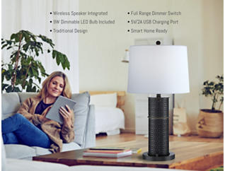 Glanis Lamp with Speaker and USB, , large
