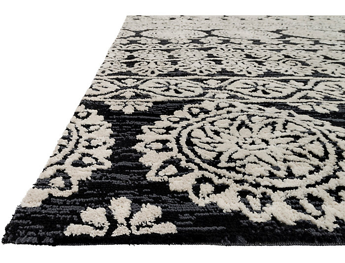Lotus Black Silver 8x10 Rug, , large