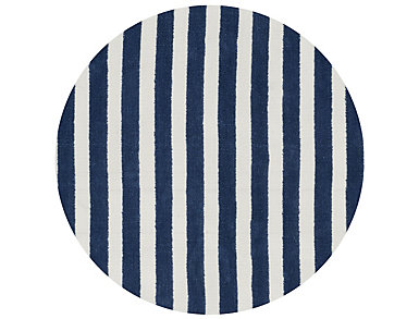 Navy/White Lola Shag Rug 3' RD, , large