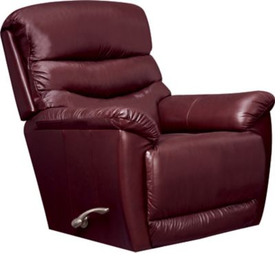 La-Z-Boy Joshua Leather Rocker Recliner, Brown, Burgundy, swatch