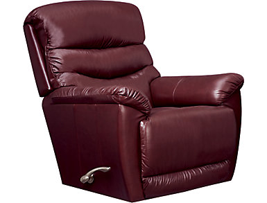 La-Z-Boy Joshua Leather Rocker Recliner, Burgundy, Burgundy, large