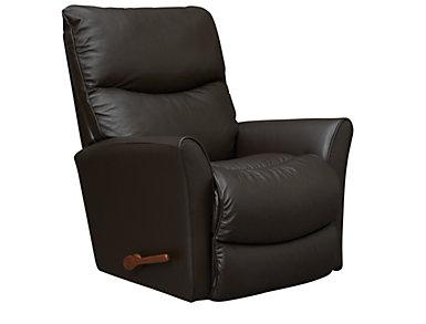 Rowan Dark Brown Leather Rocker Recliner, Dark Brown, large