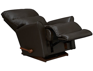 Rowan Dark Brown Leather Rocker Recliner, Dark Brown, large