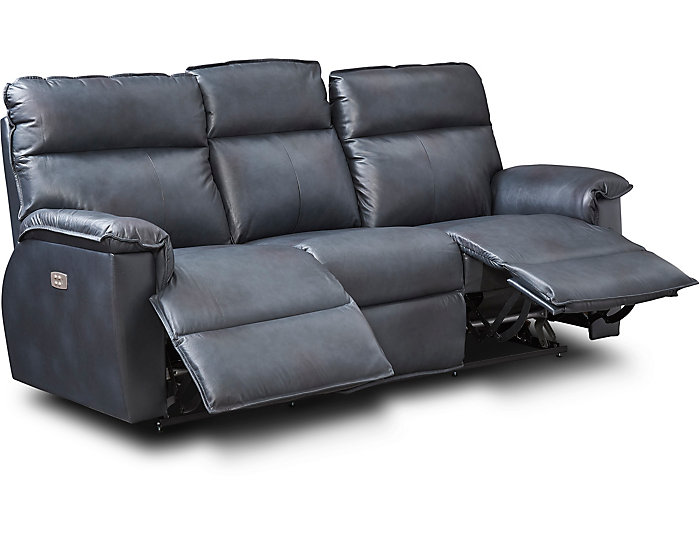 Peachy Jay Blue Leather Dual Power Reclining Sofa Alphanode Cool Chair Designs And Ideas Alphanodeonline