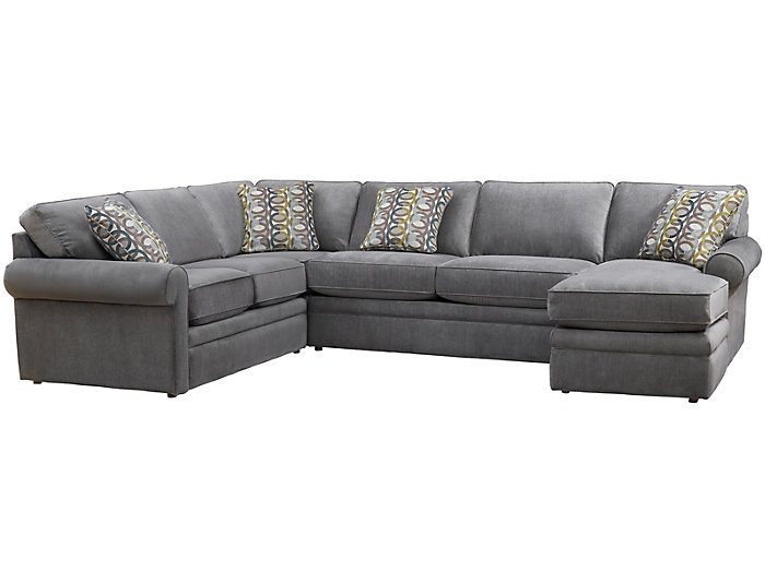Collins II 4 Piece Sectional with Right-Arm Facing Chaise , Grey ...