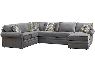 Collins II 4 Piece Sectional with Right-Arm Facing Chaise , Grey, , large
