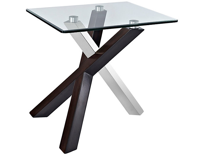 Verge Espresso Rectangle End Table Glass Top