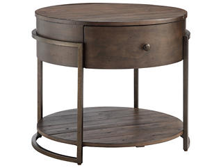 Kirkwood Round End Table, Brown, , large