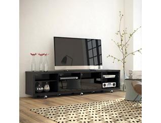"Cabrini 86"" Black TV Stand, Black, large"
