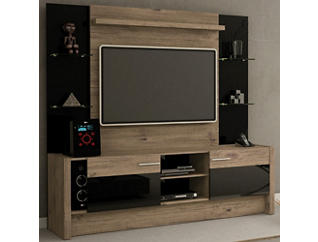 """Morning Side 74"""" Nature and Black Wall Unit, Black, large"""
