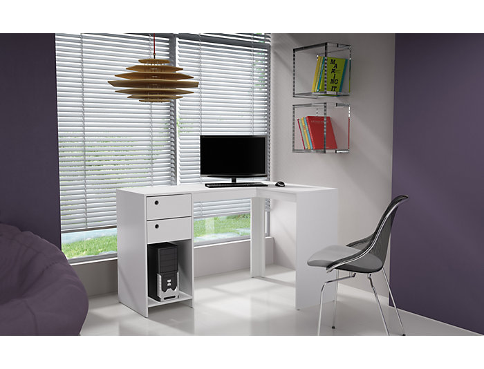 "Palermo White ""L"" Desk, , large"