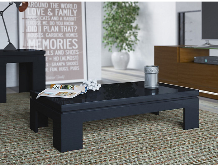 Modern Coffee Table, Black, , large