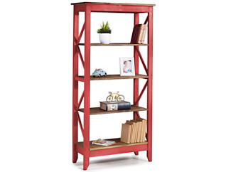 "Camden Red 65"" Bookshelf, , large"