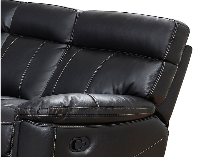 Bruno 6 Piece Reclining Sectional, Black, Black, large