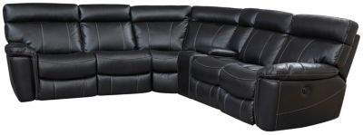 Bruno 7 Piece Reclining Sectional, Black, swatch