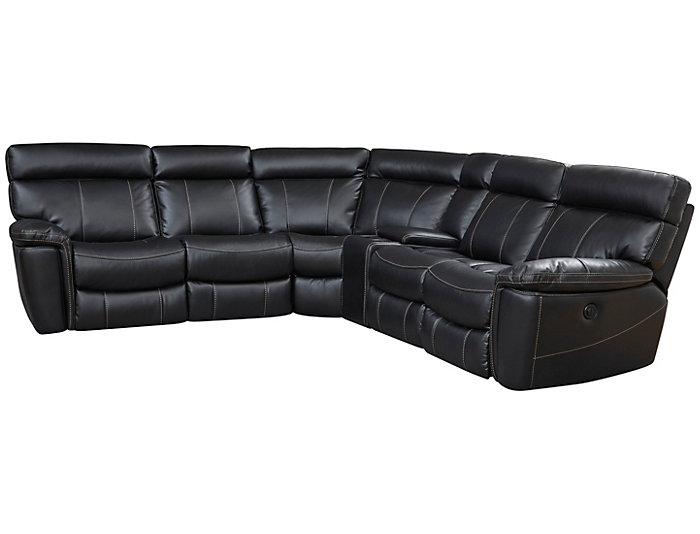 Bruno 6 Piece Power Sectional, Black, , large