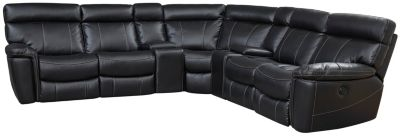 Bruno 7 Piece Power Sectional, Black, swatch
