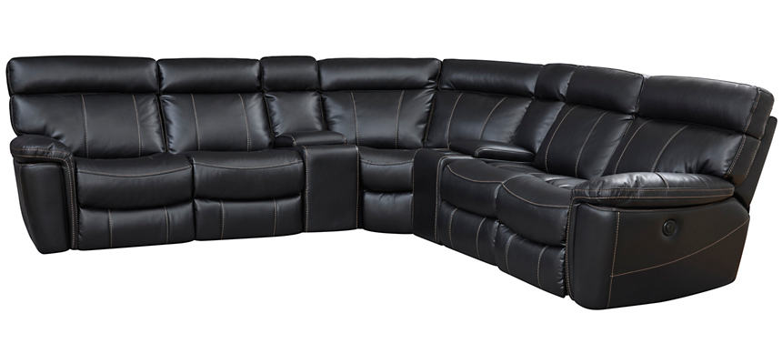 Bruno 7 Piece Black Power Reclining Sectional
