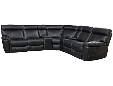 Bruno 7 Piece Reclining Sectional, Black, Black, large