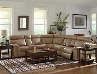 Bruno 7 Piece Black Power Reclining Sectional, Black, large
