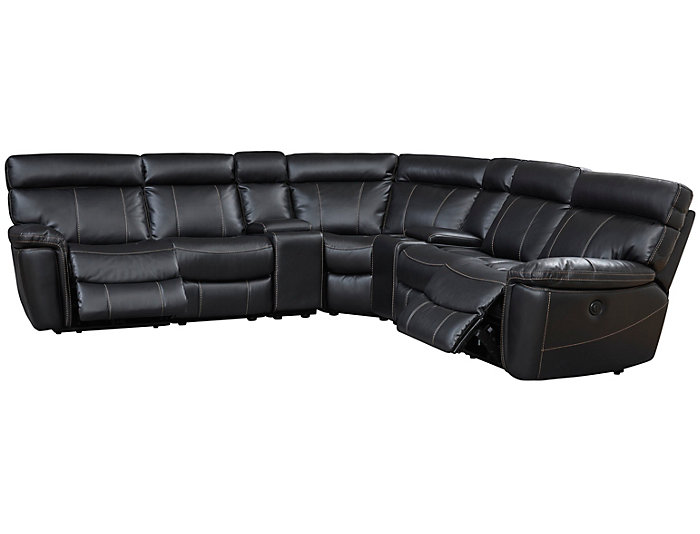 Bruno 7 Piece Power Sectional, Black, , large