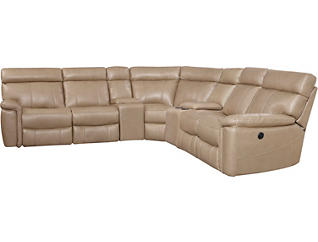 Bruno 6 Piece Power Sectional, Taupe, Taupe, large