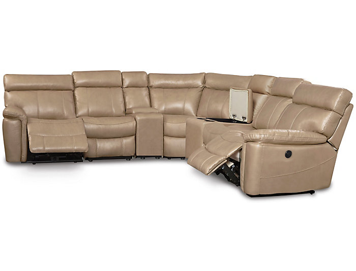 Bruno 7 Piece Power Sectional, Taupe, Taupe, large