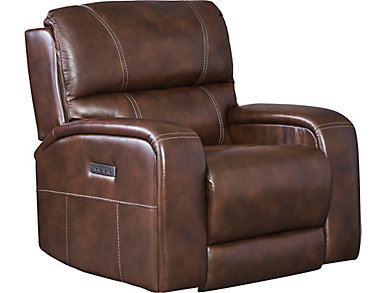 Drake Dual Power Leather Recliner, , large