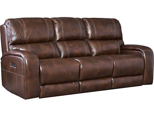 Drake Dual Power Reclining Leather Sofa, , large