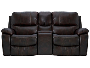 Darby Power Console Loveseat, Brown, , large
