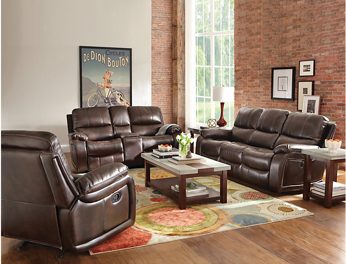 Darby Gliding Console Loveseat, Brown, , large