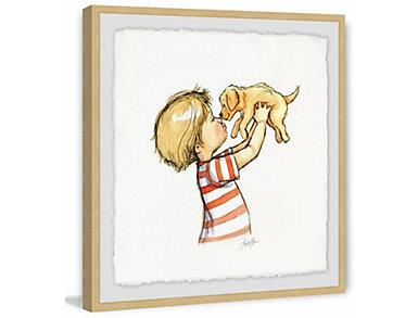 Boy & Puppy 40x40 Framed Art, , large