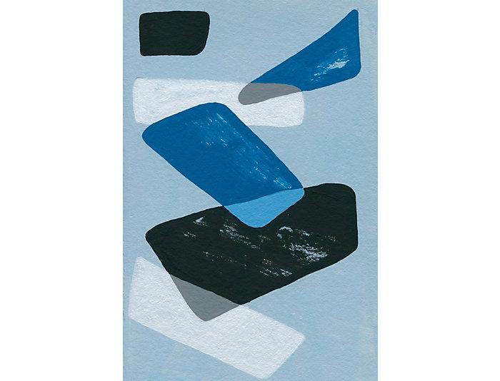 Blue Shapes 36x24 Canvas Art, , large