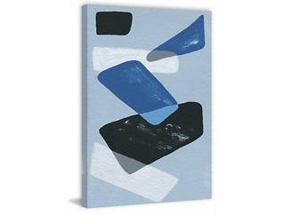 Blue Shapes 45x30 Canvas Art, , large