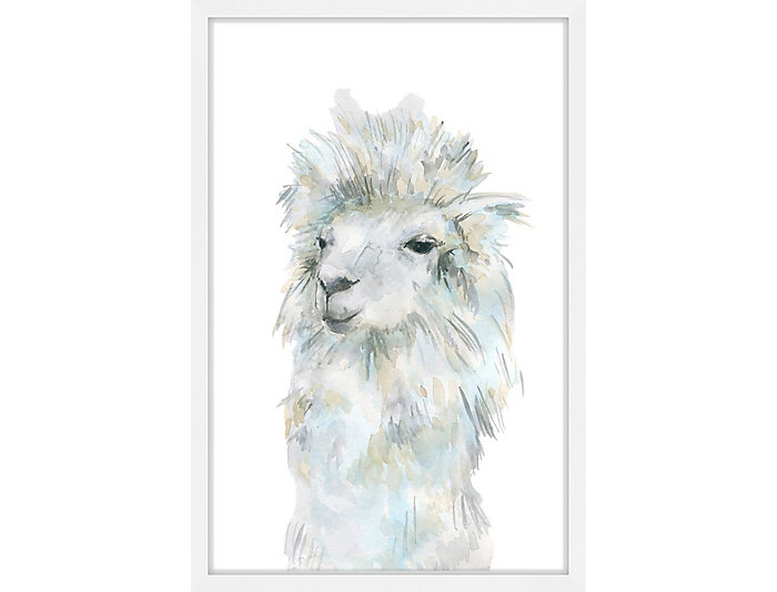 Fluffy Llama 30x20 Framed Art, , large