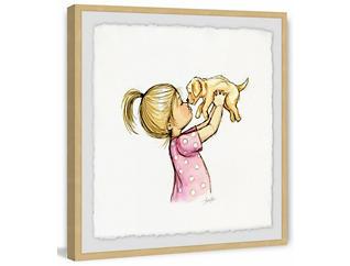 Girl & Puppy 24x24 Framed Art, , large
