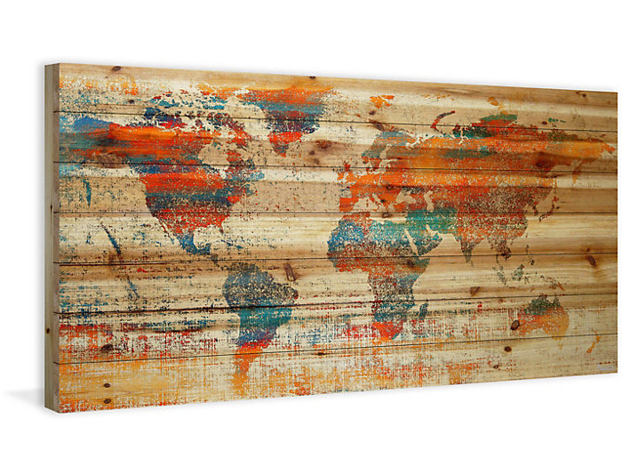 World Map 23x45 Wood Art Art Van Home
