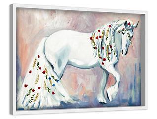 White Unicorn 24x36 Canvas Art, , large