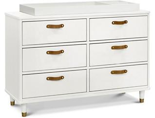 Tanner 6 Drawer White Dresser, , large