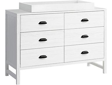 Fairway 6-Drawer White Dresser, , large