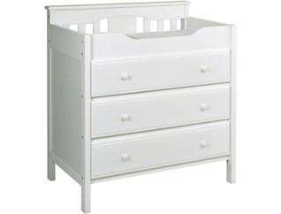 3-Drawer White Changer Dresser, , large