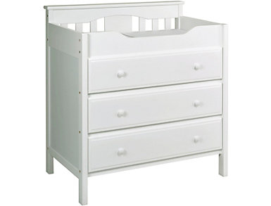 3-Drawer White Changer Dresser, , large