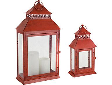 Set of 2 Holiday Red Lanterns, , large