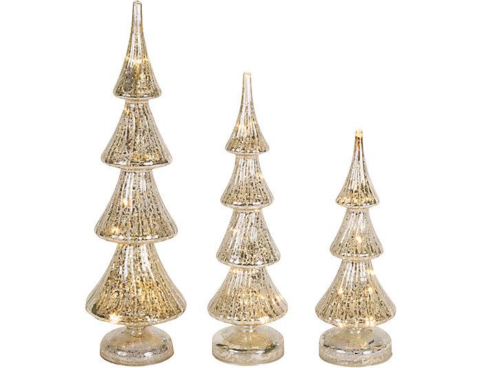 S/3 Mercury Glass Trees, , large
